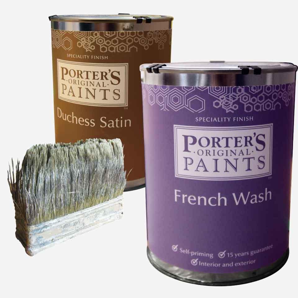 ポーターズペイントの缶、刷毛